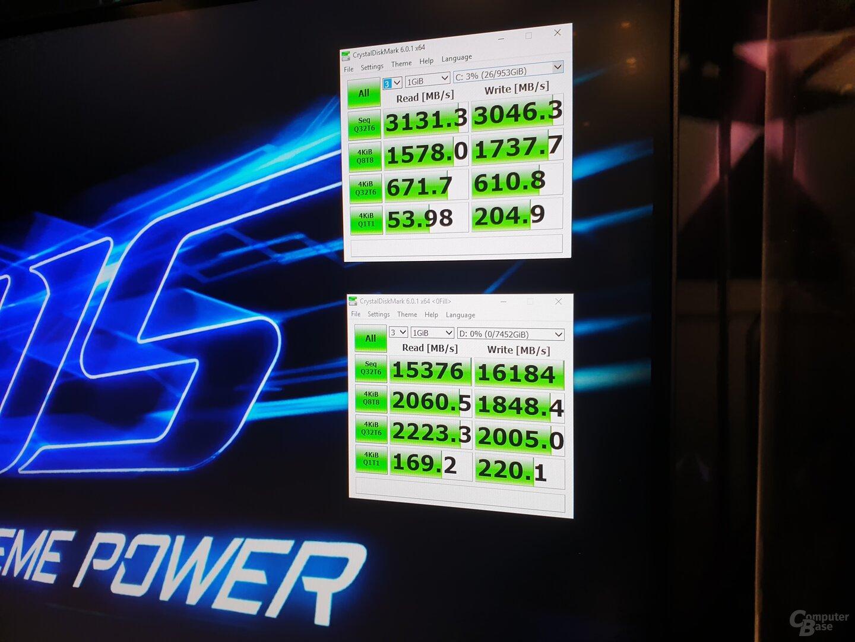 Benchmarks von Gigabyte Aorus NVMe Gen4 SSD: oben einzeln, unten vierfach im RAID-0