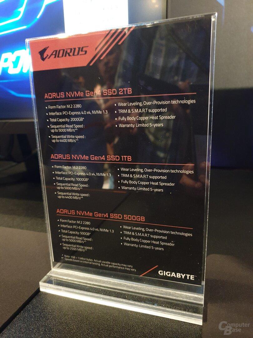 Gigabyte Aorus NVMe Gen4 SSD mit 500 GB, 1 TB und 2 TB