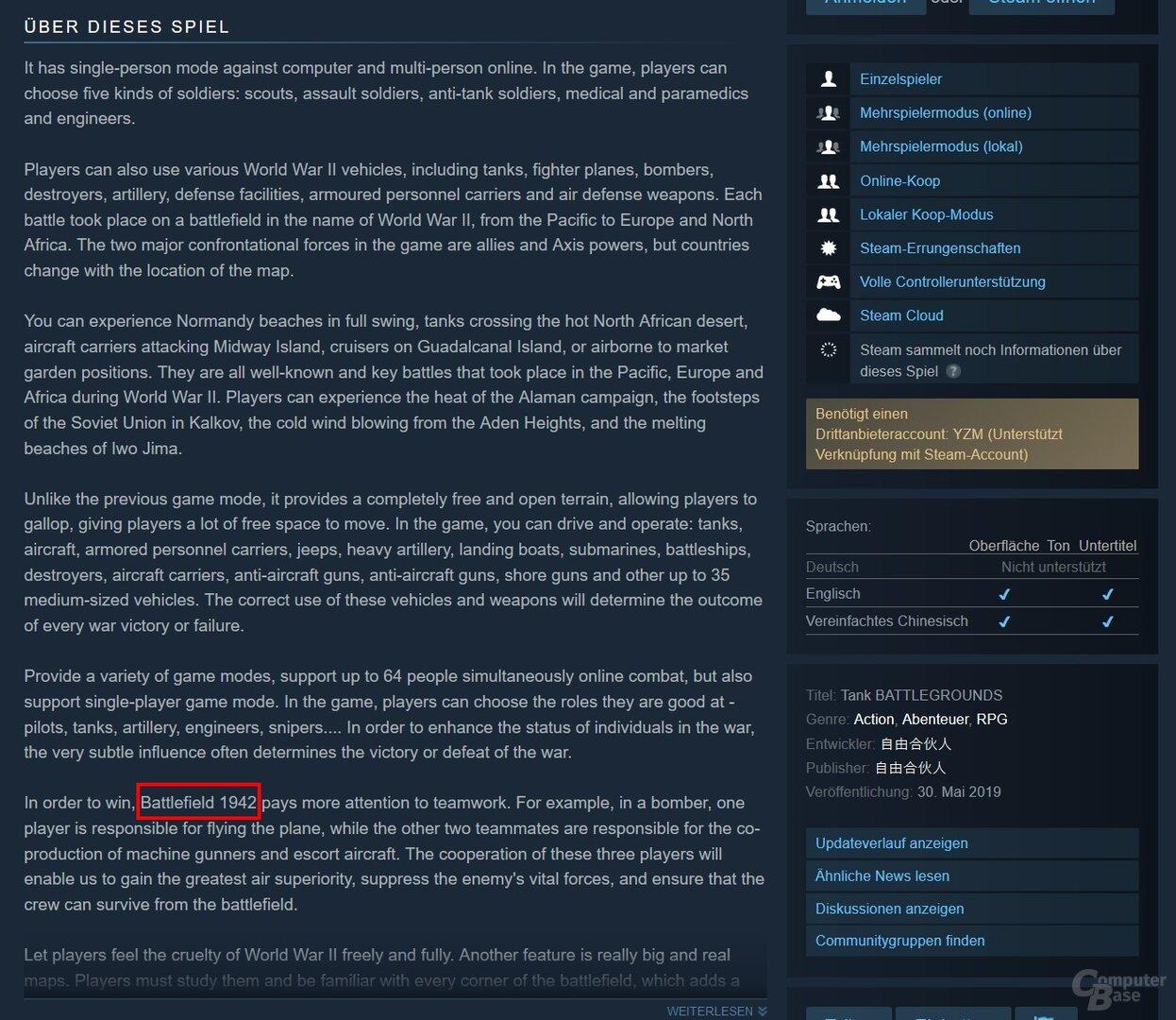 """In der Produktbeschreibung wird das Spiel einmal als """"Battlefield 1942"""" bezeichnet"""