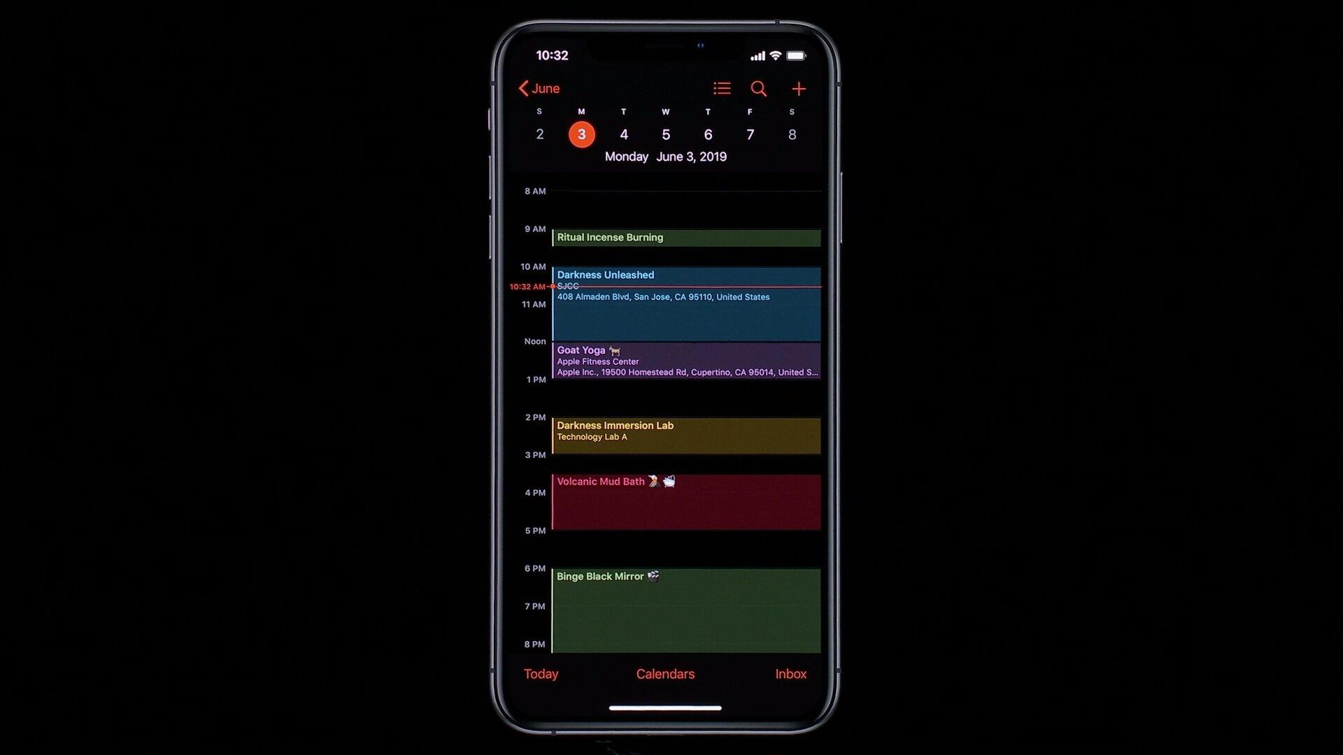 Kalender im Dark Mode