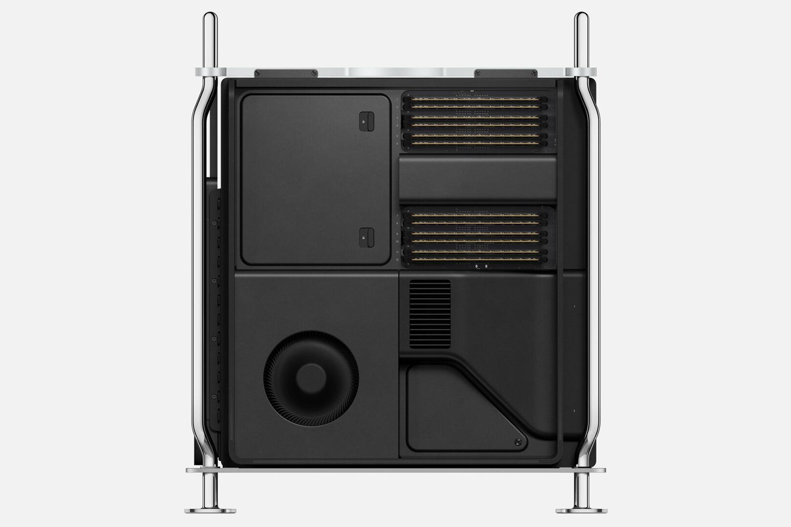 Mac Pro geöffnet von links mit zwölf RAM-Modulen