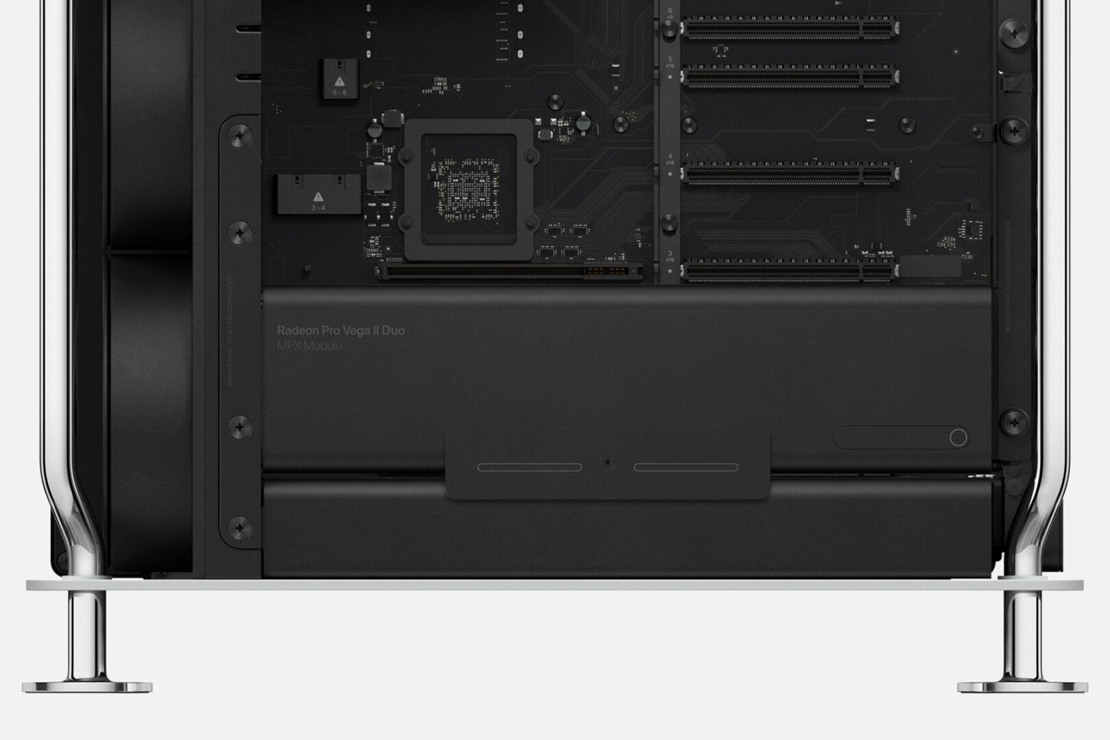 Eingestecktes MPX-Modul mit AMD Radeon Pro Vega II Duo