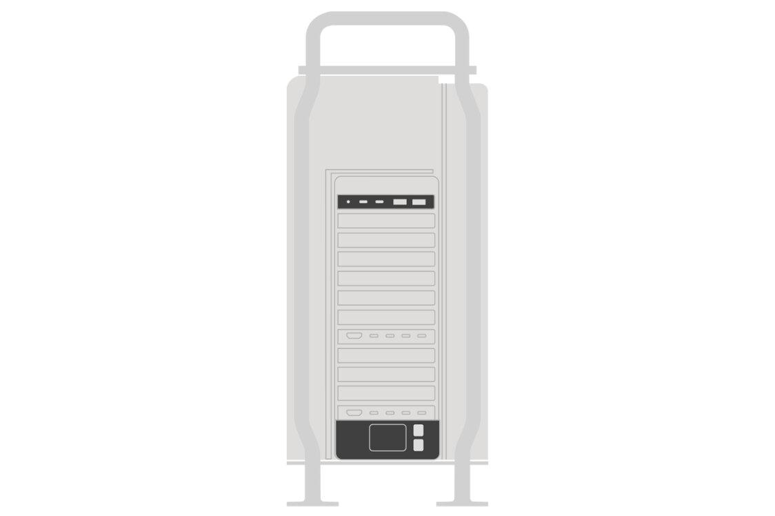 Rückseite mit Apples I/O-Karte, 1.400-W-Netzteil und Dual-10-Gbit/s