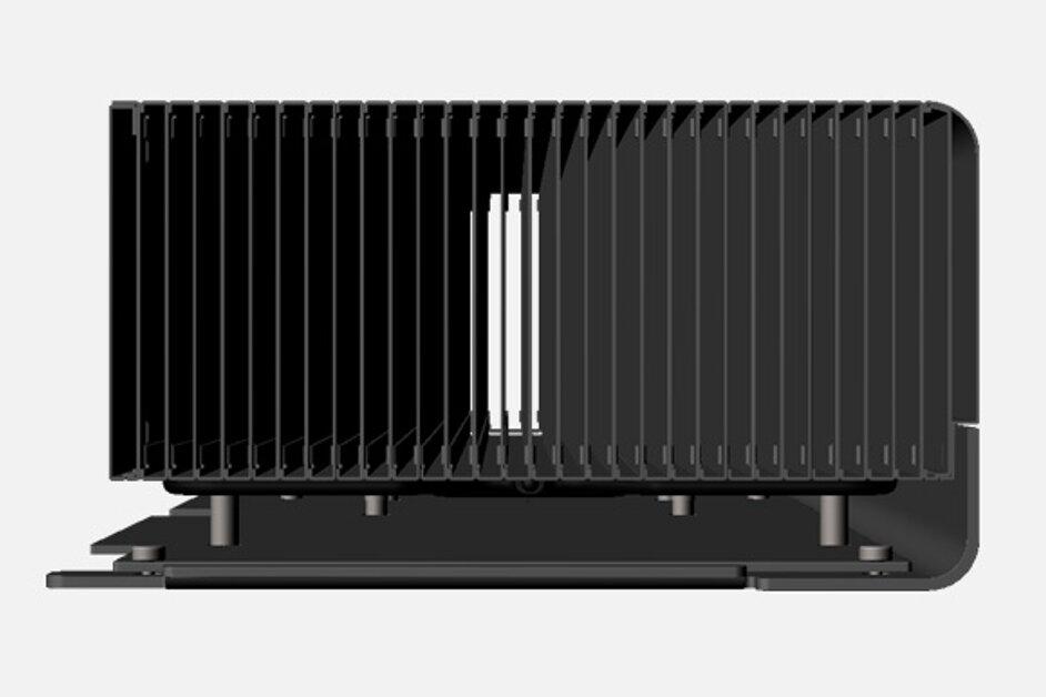 Grafikkarte mit passivem Kühlblock von der Seite