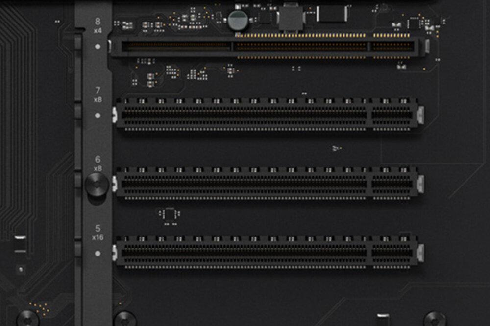Die oberen Slots liefern x16, x8, x8 und x4
