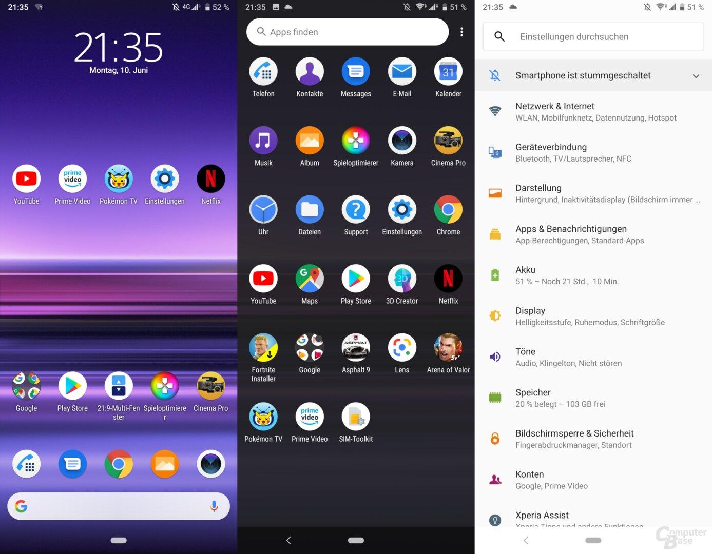 Xperia UI auf dem Sony Xperia 1