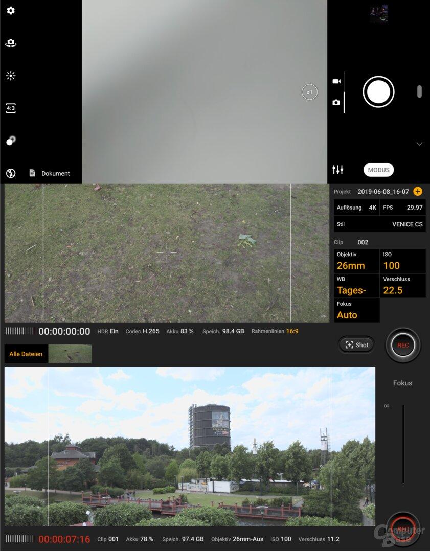 Kamera-App und Cinema Pro
