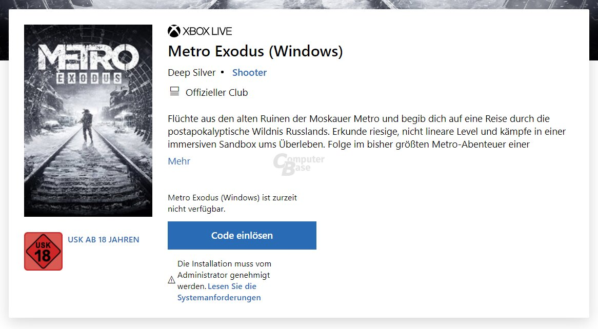 Metro Exodus im Windows Store