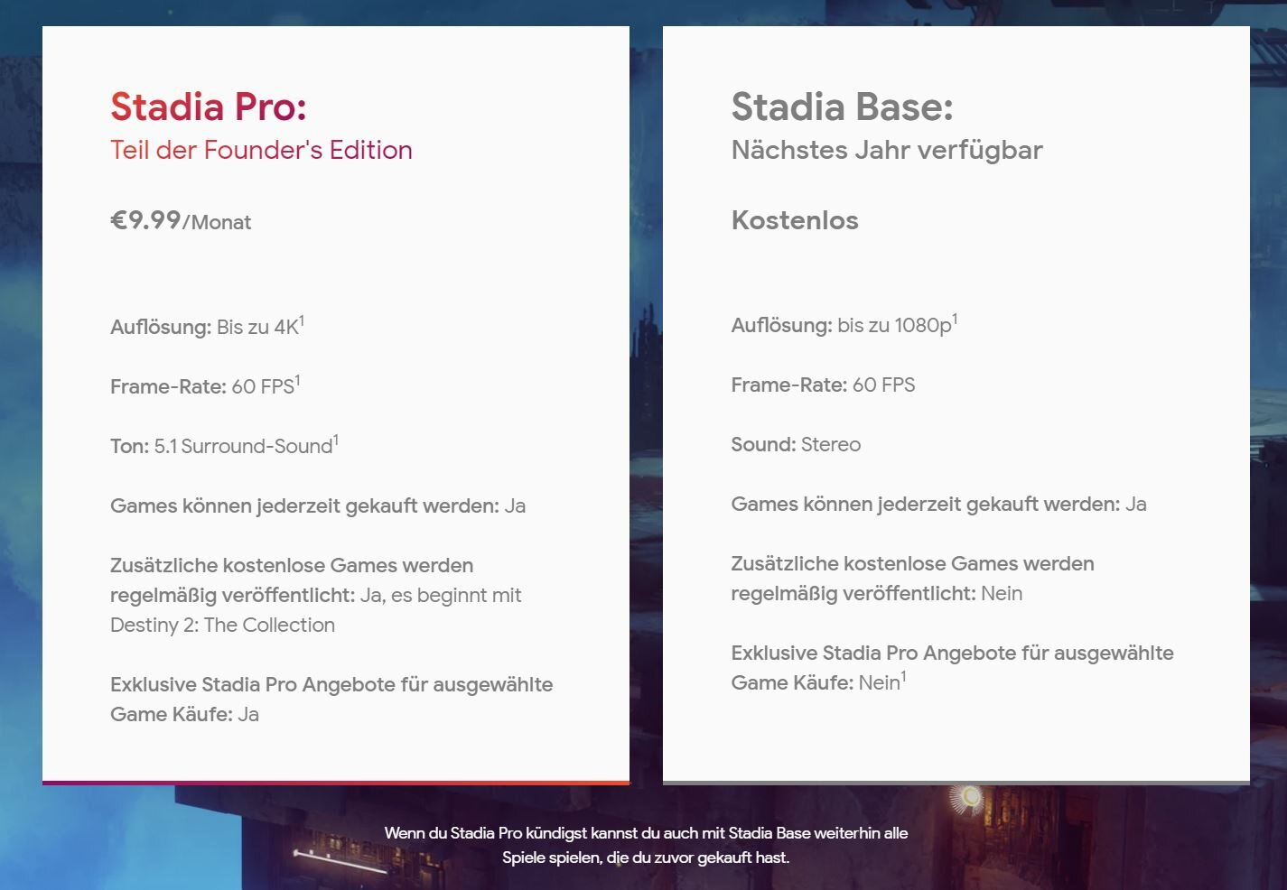 Stadia Pro und Stadia Base im Vergleich