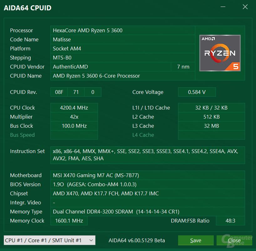 AMD Ryzen 5 3600 auf MSI X470 Gaming M7 AC mit AGESA 1.0.0.3