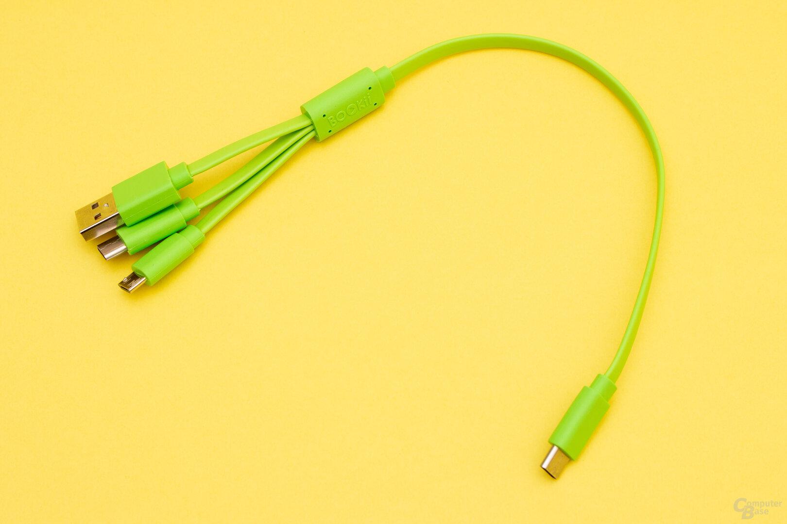 Das Mitgeliferte Kabel bietet viele Anschlussmöglichkeiten