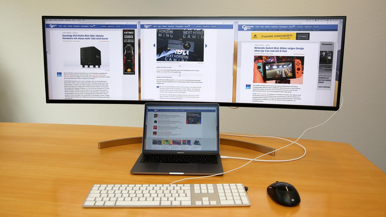 LG 49WL95C im Test: Gebogenes 32:9-Display mit 5.120 × 1.440 Pixeln und USB-C