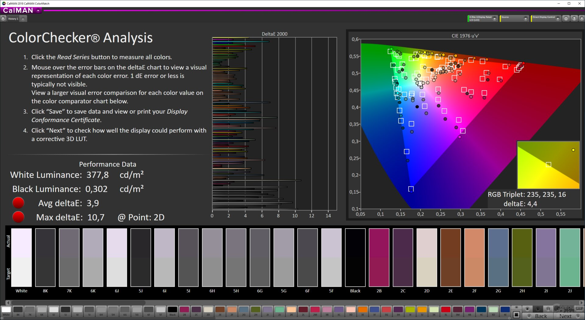 ColorMatch-Testergebnis des LG 49WL95C-W
