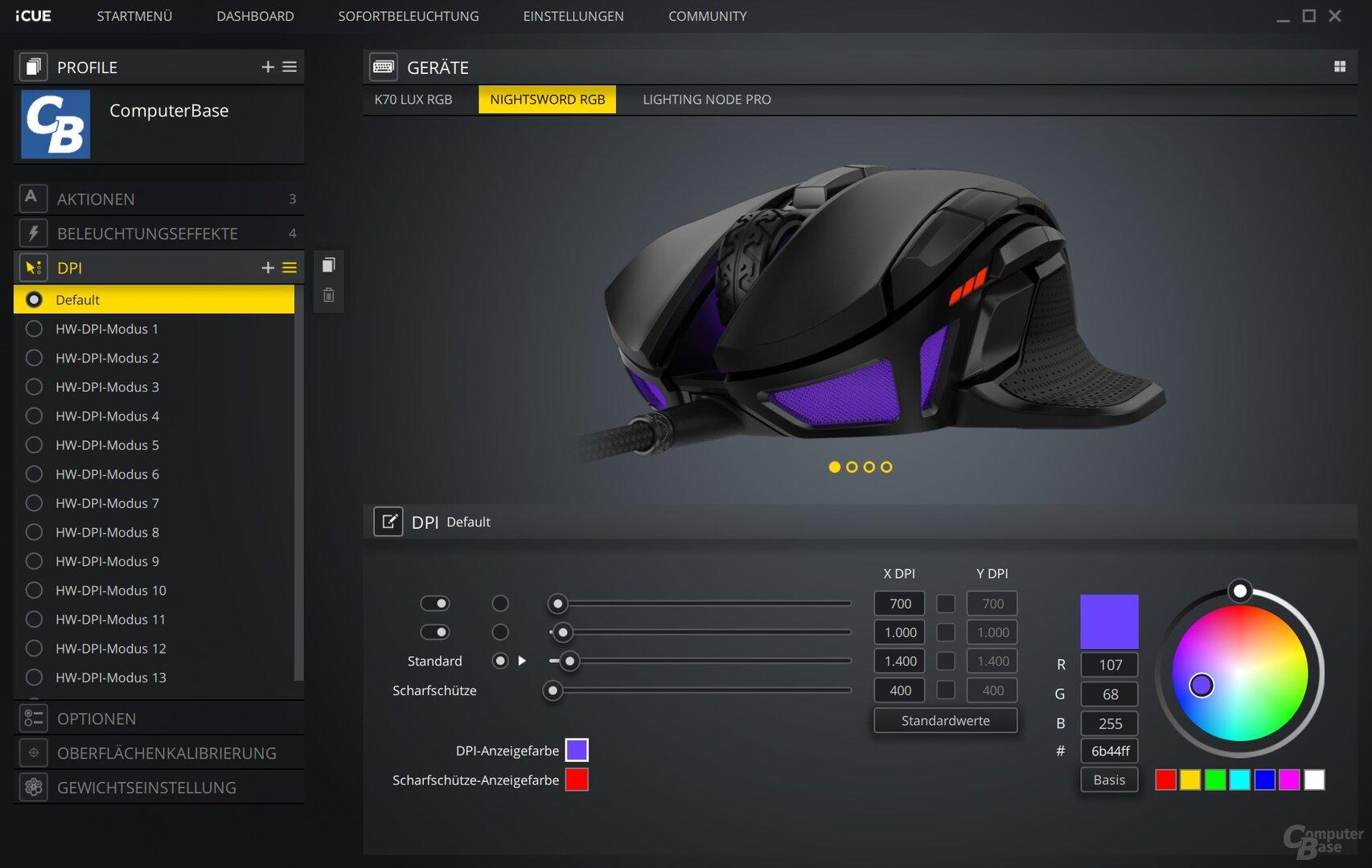 Drei dpi-Konfigurationen exklusive Sniper-Taste sind pro Profil möglich