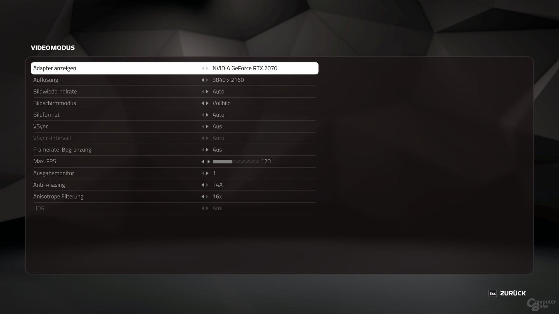 F1 2019 – Das Grafik-Menü