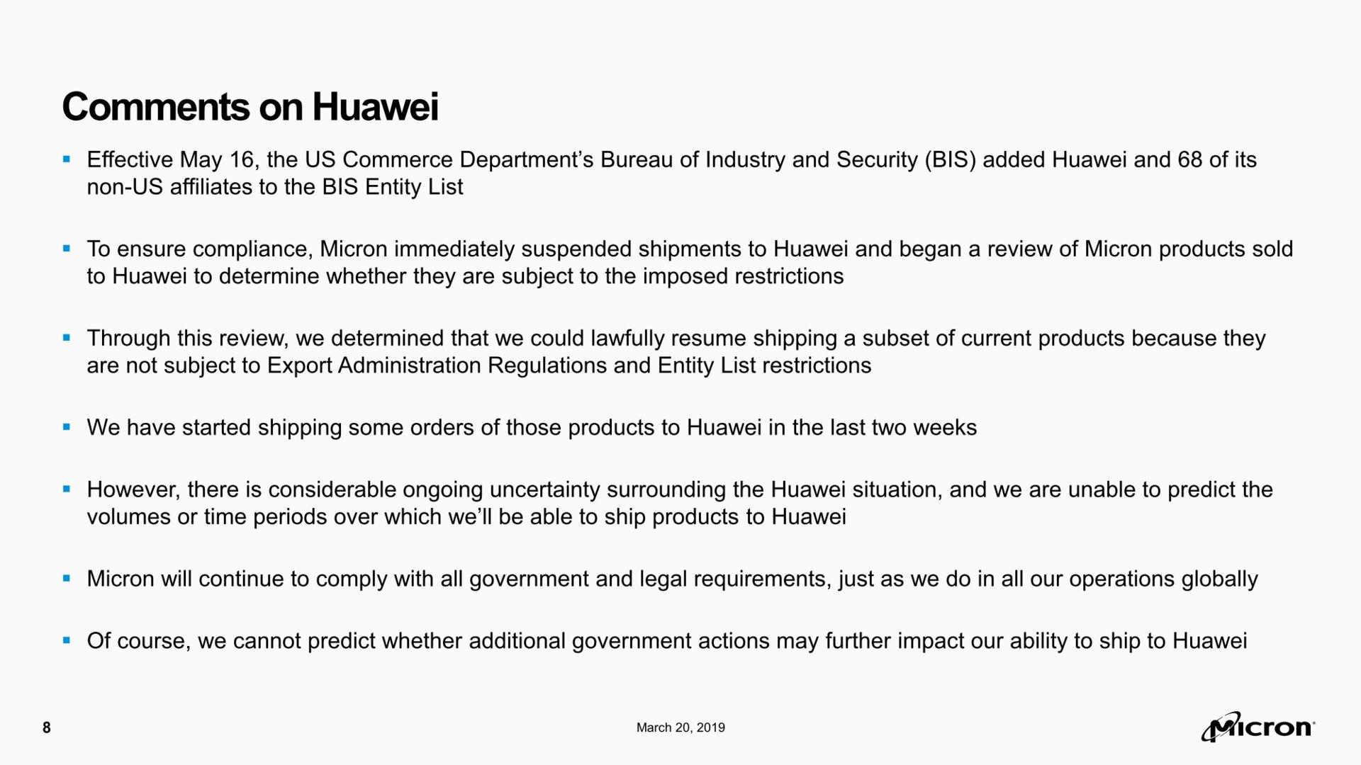 Microns Statement zur Situation mit Huawei