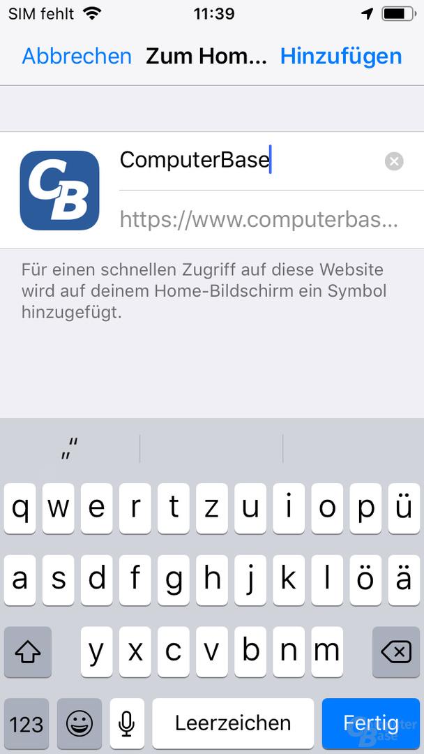 App-Installation in Mobile Safari – Anschließender Dialog