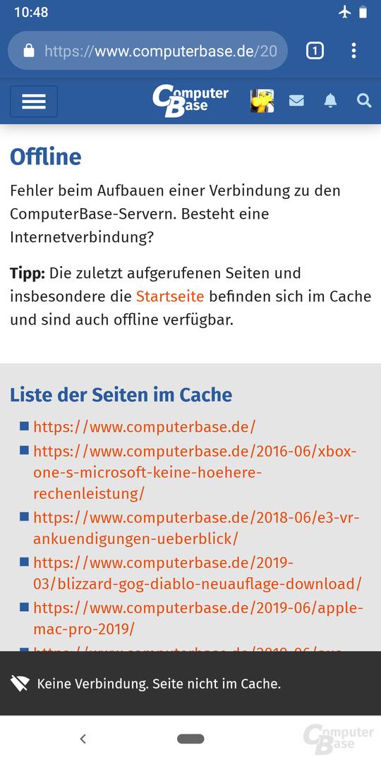 Offline-Nutzung – Eine nicht im Cache vorhandene Seite