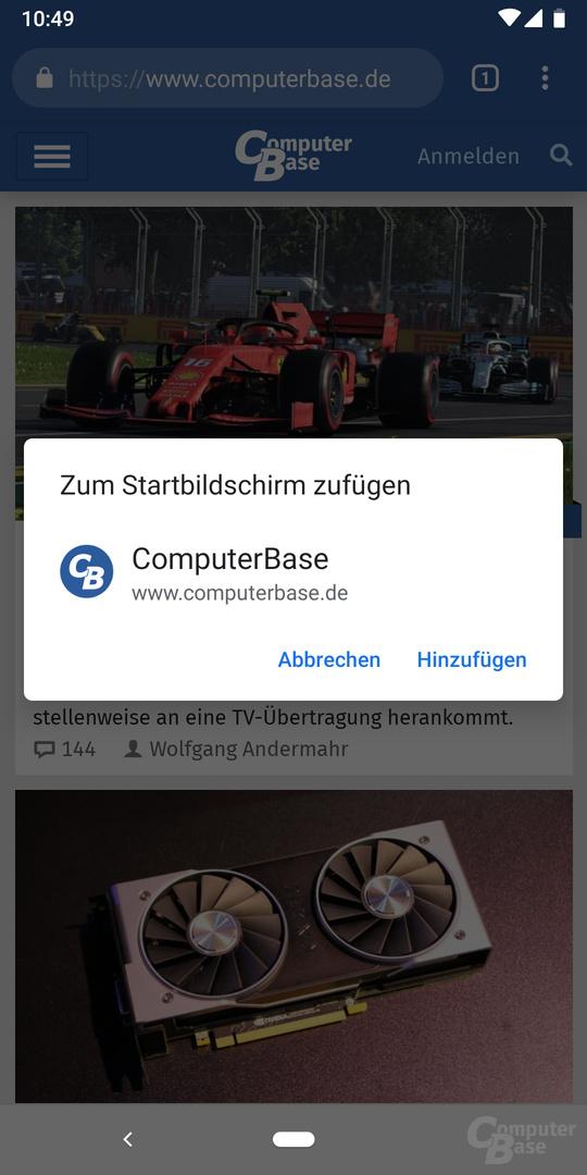 App-Installation in Chrome unter Android – Anschließender Dialog