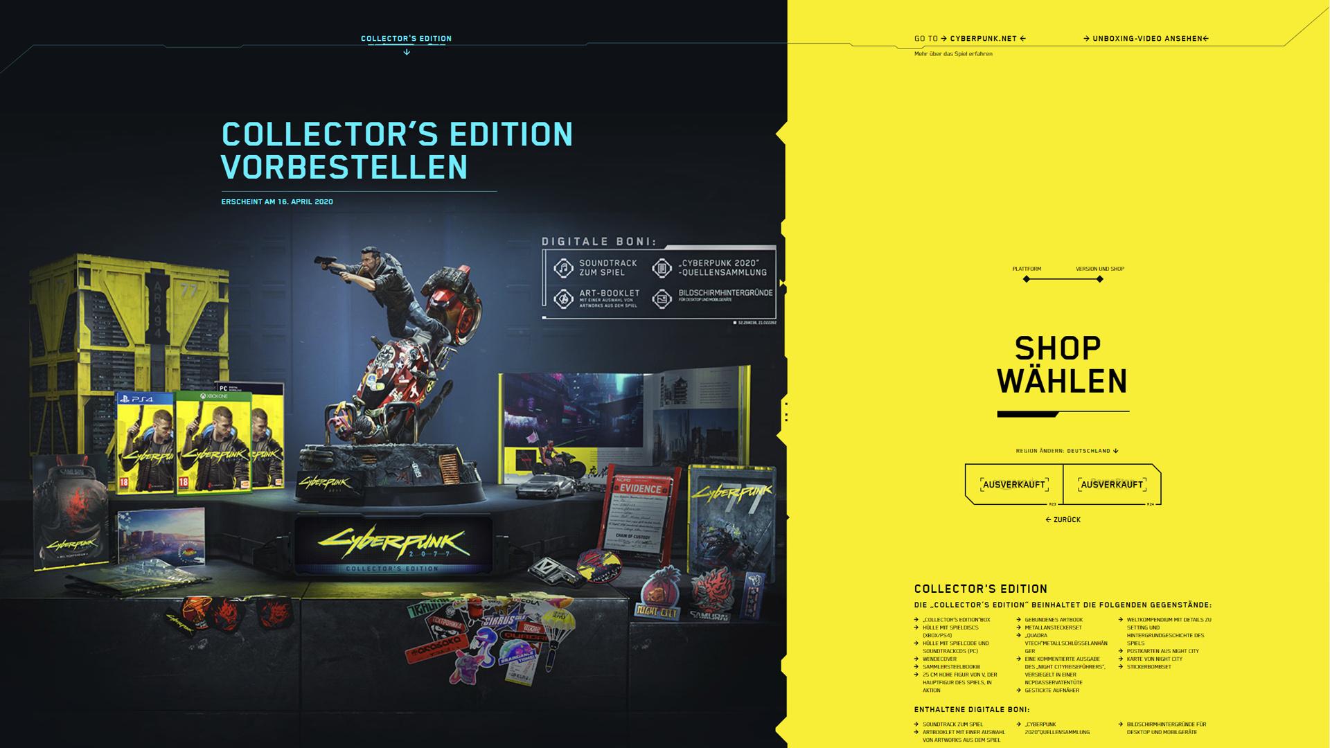 Cyberpunk 2077 Collector's Edition – ausverkauft