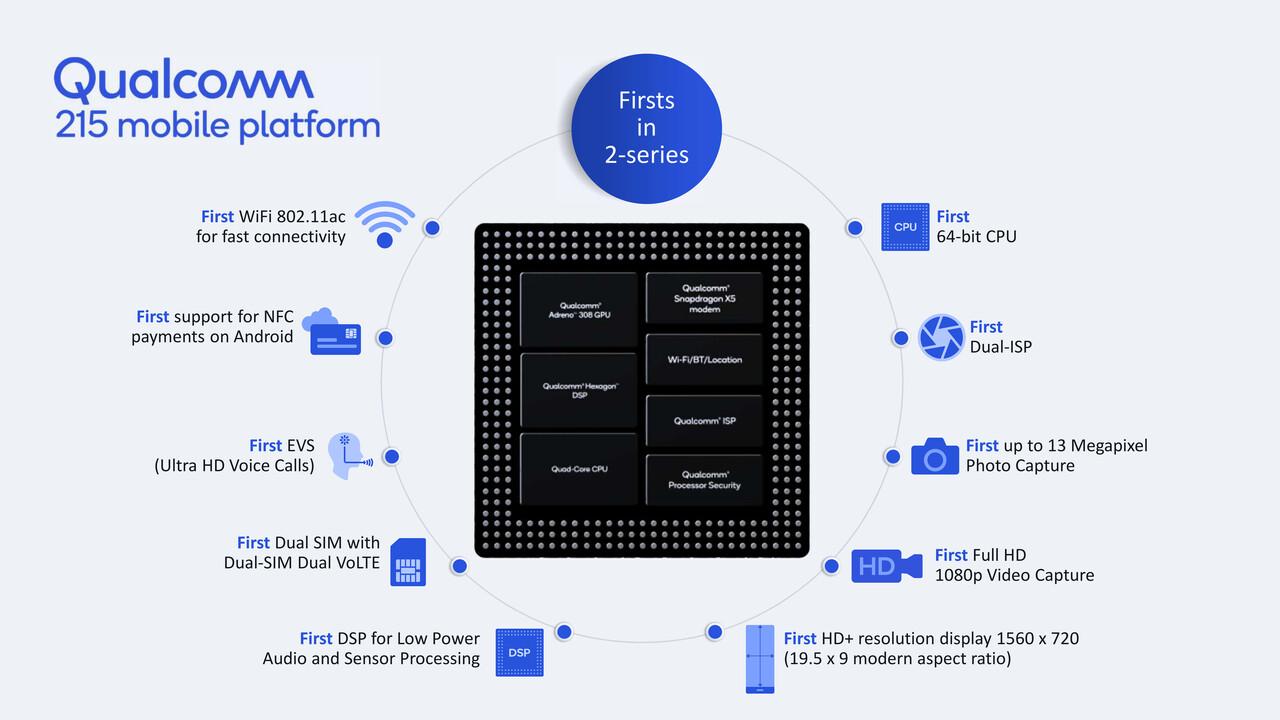 215 Mobile Platform: Qualcomm bringt 64-Bit-CPU in die Einstiegsklasse