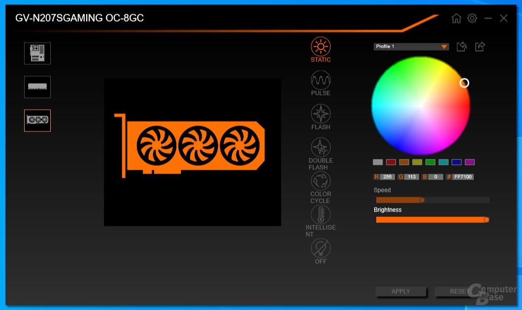 In RGB Fusion lässt sich der RGB-LED-Schriftzug anpassen