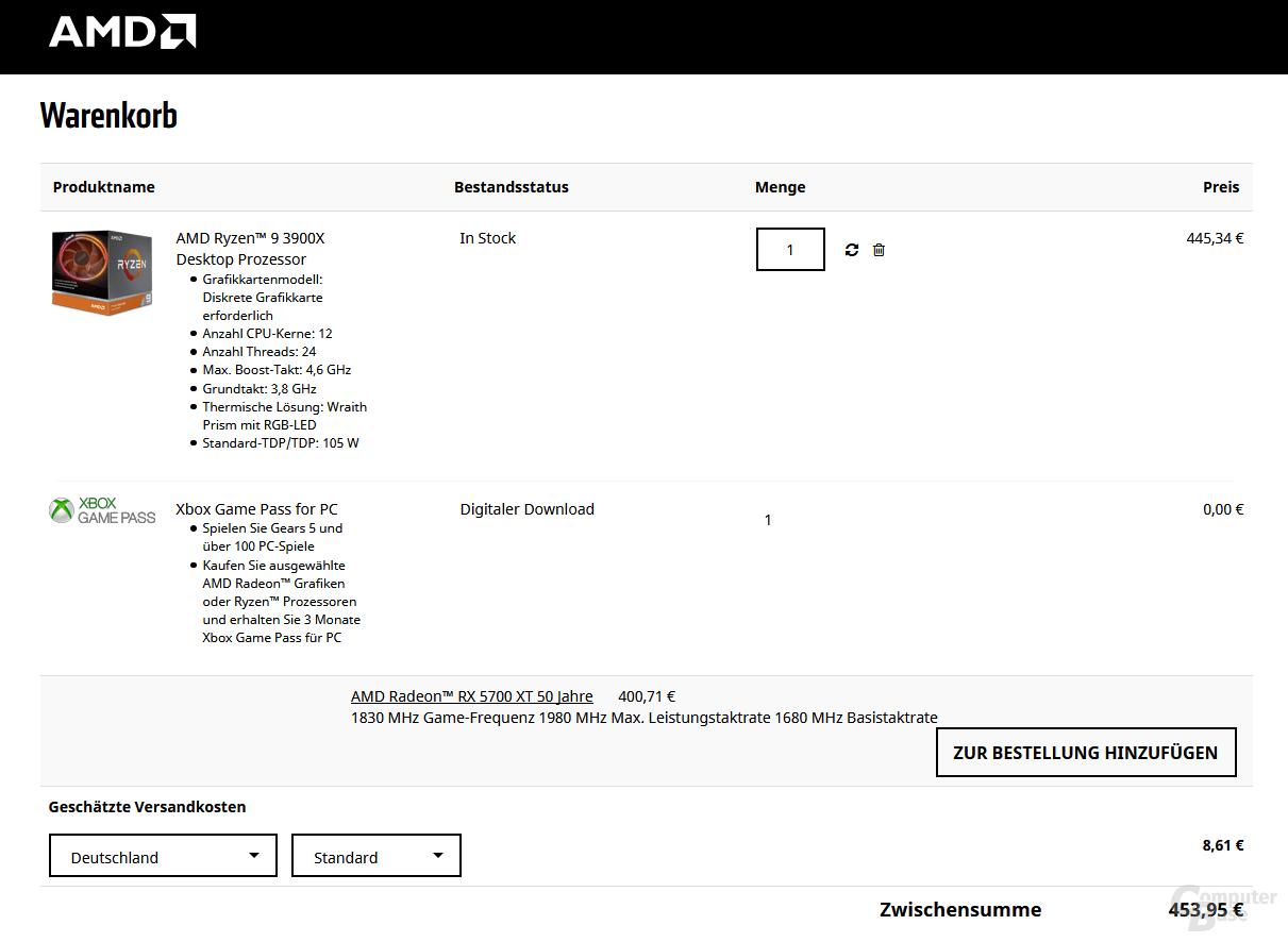Über AMD.com gibt es lieferbare Ryzen 9 3900X