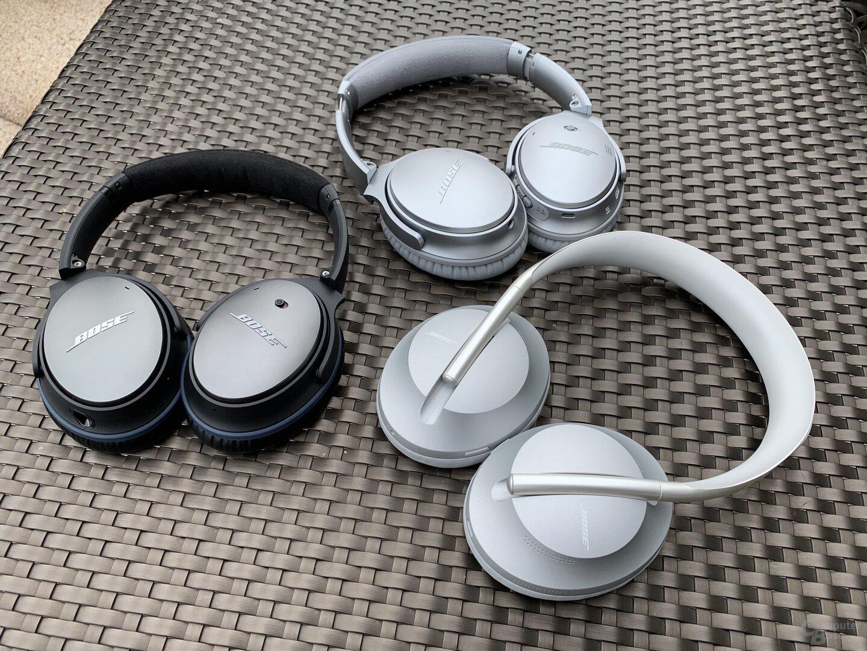 Bose Noise Cancelling Headphones 700 (vorne), QC 25 (links), QC 35 II (oben)