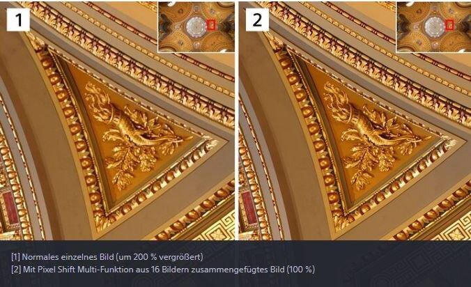Sony Alpha 7R IV: Pixel-Shift mit bis zu 16 Bildern