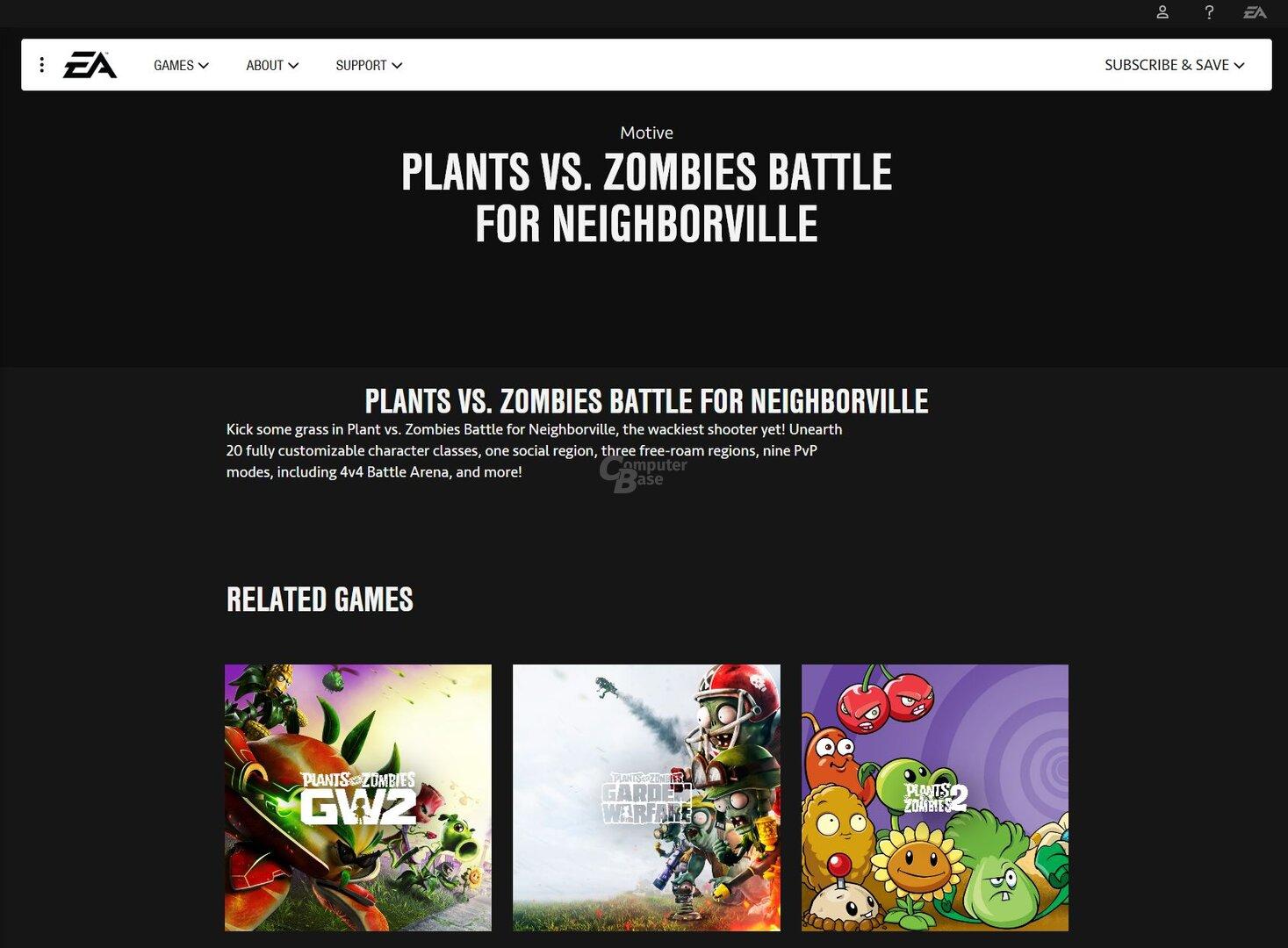 EA-Website enthüllte Plants vs Zombies Battle for Neighborville (Screenshot von Leser EMkaEL)