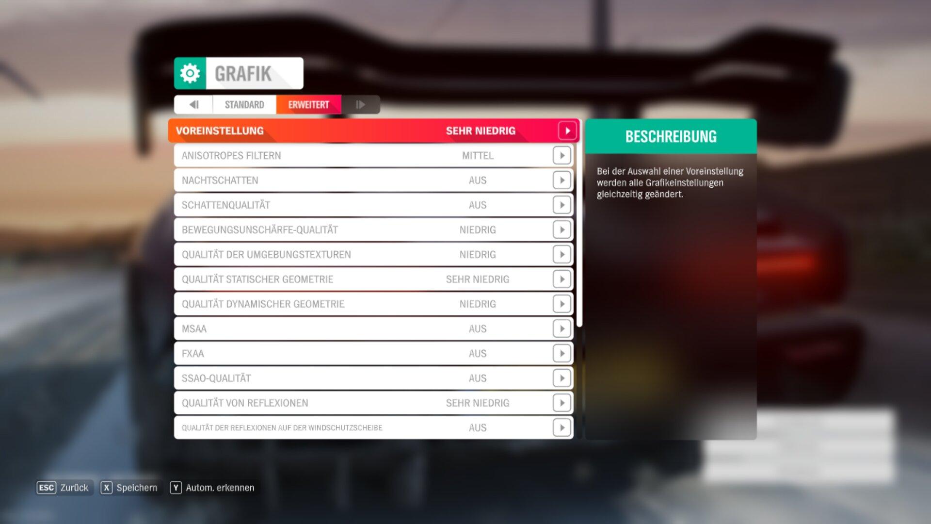Die Einstellungen in Forza 4