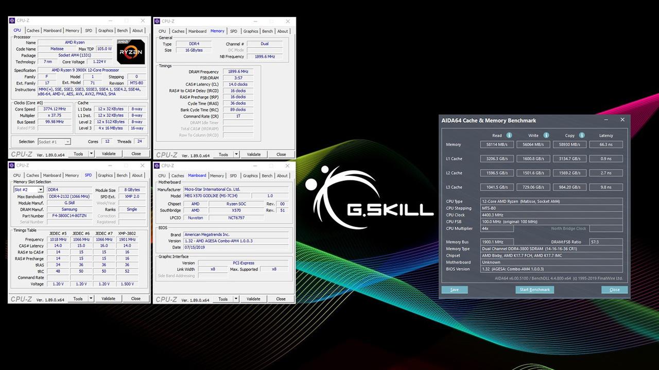 Trident Z Neo 16 GB DDR4-3800 CL14-16-16-36 bei 1,5v