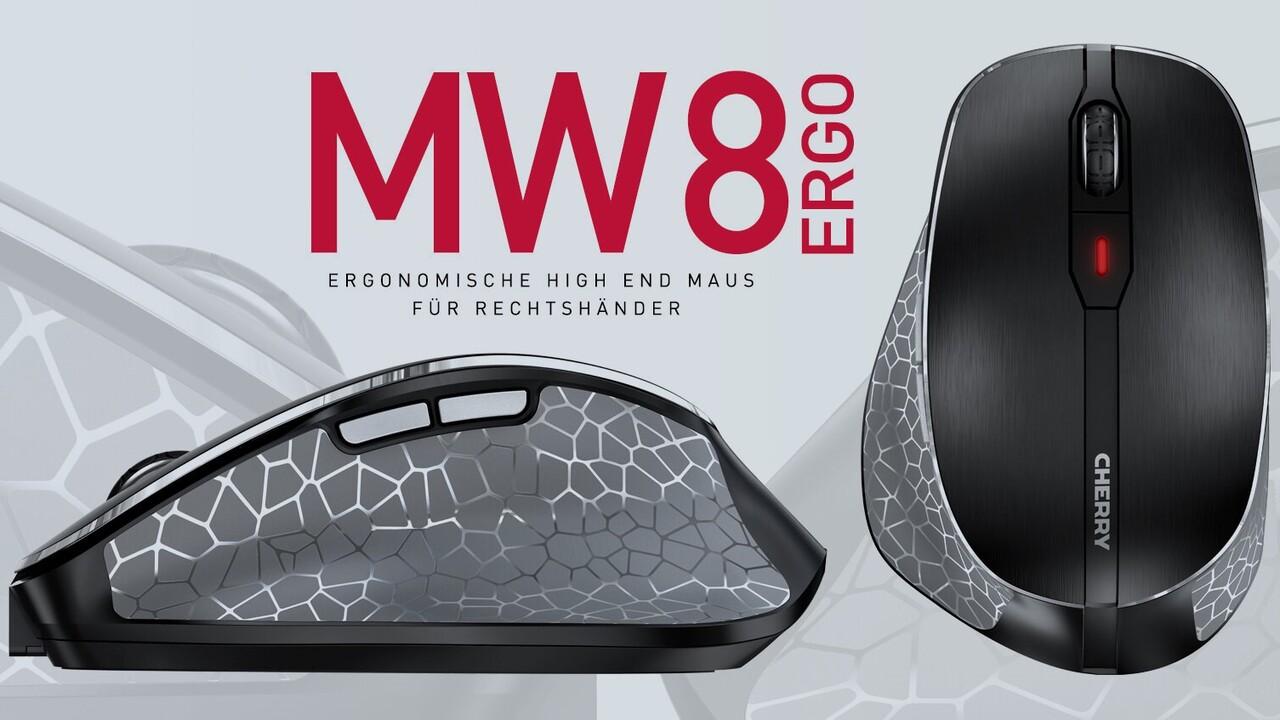 Cherry MW 8 Ergo: Office-Maus mit Funk und Akku wird ergonomisch