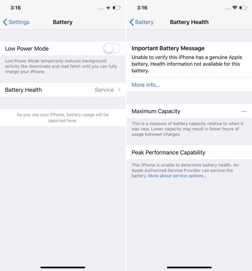 Batterie-Hinweis unter iOS