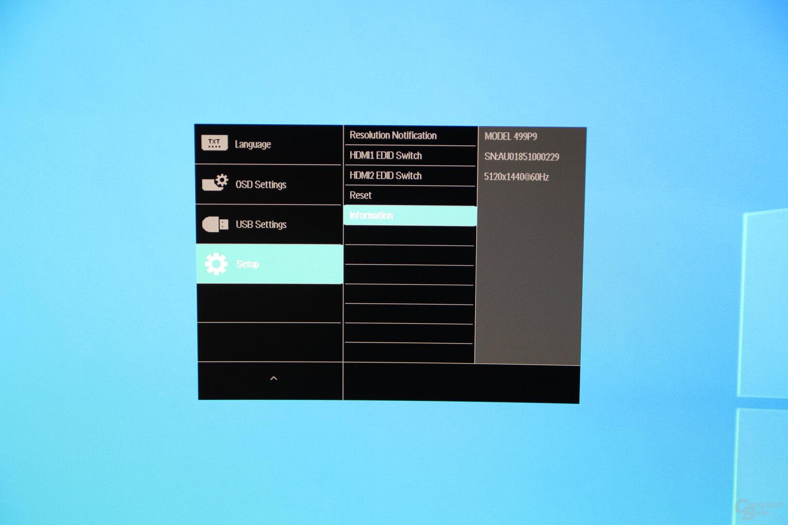 OSD des Philips 499P9H