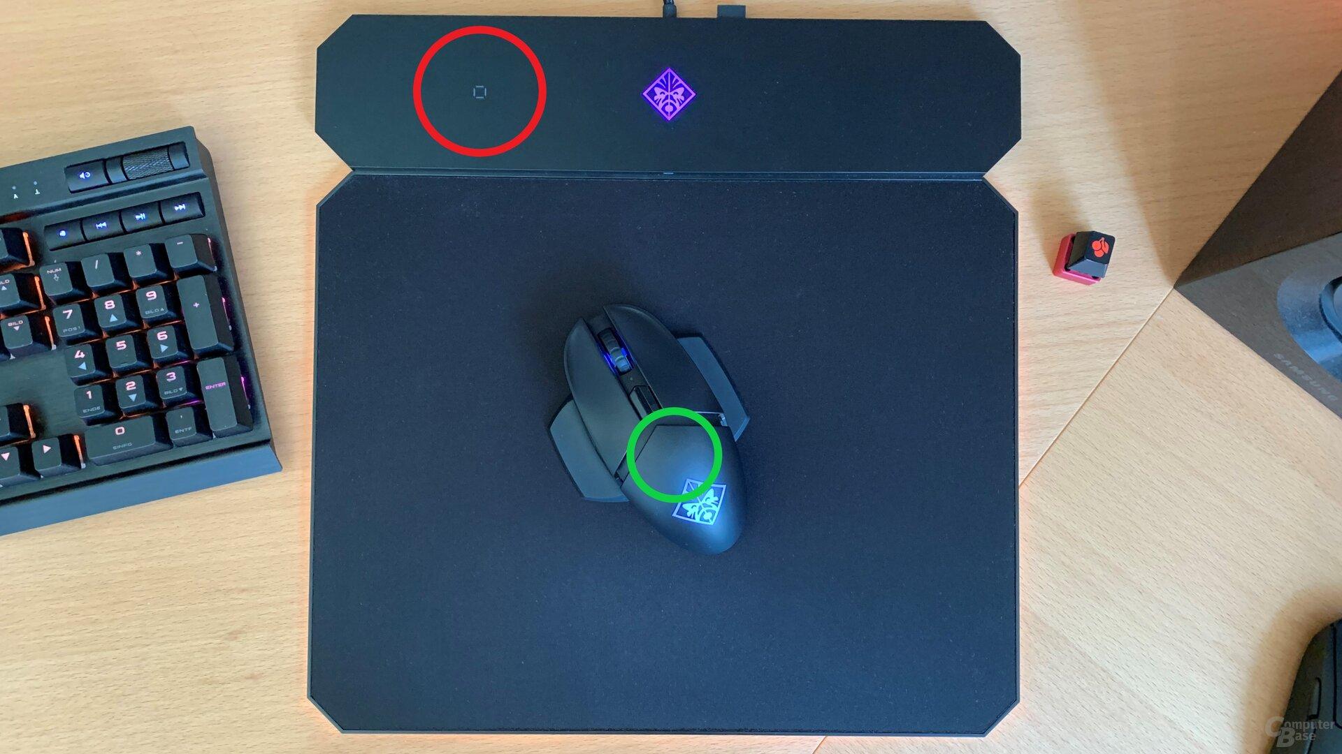 Die Omen Photon lädt induktiv, sofern der grüne Kreis innerhalb des roten Kreises ist