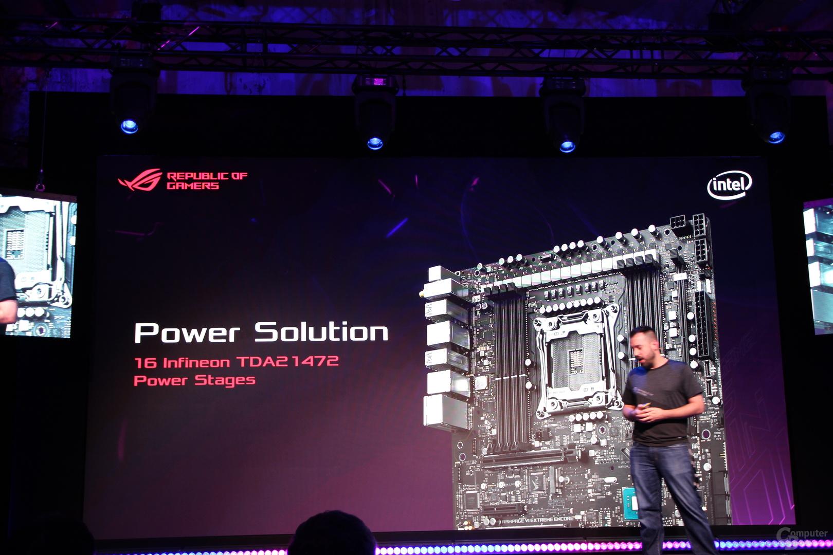 """16 """"echten"""" Phasen vom Typ TDA21472 von Infineon auf dem ROG Rampage VI Extreme Encore"""