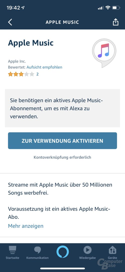 Apple Music in der Alexa-App