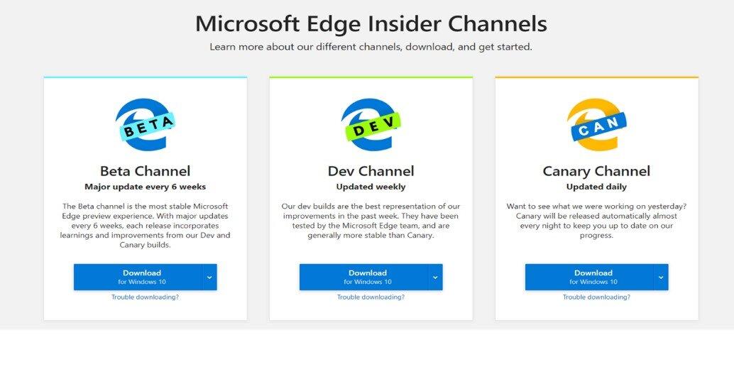 Die drei Test-Versionen von Microsoft Edge