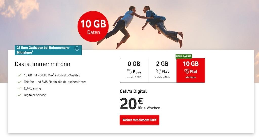 CallYa Digital ist der erste rein digitale Tarif von Vodafone