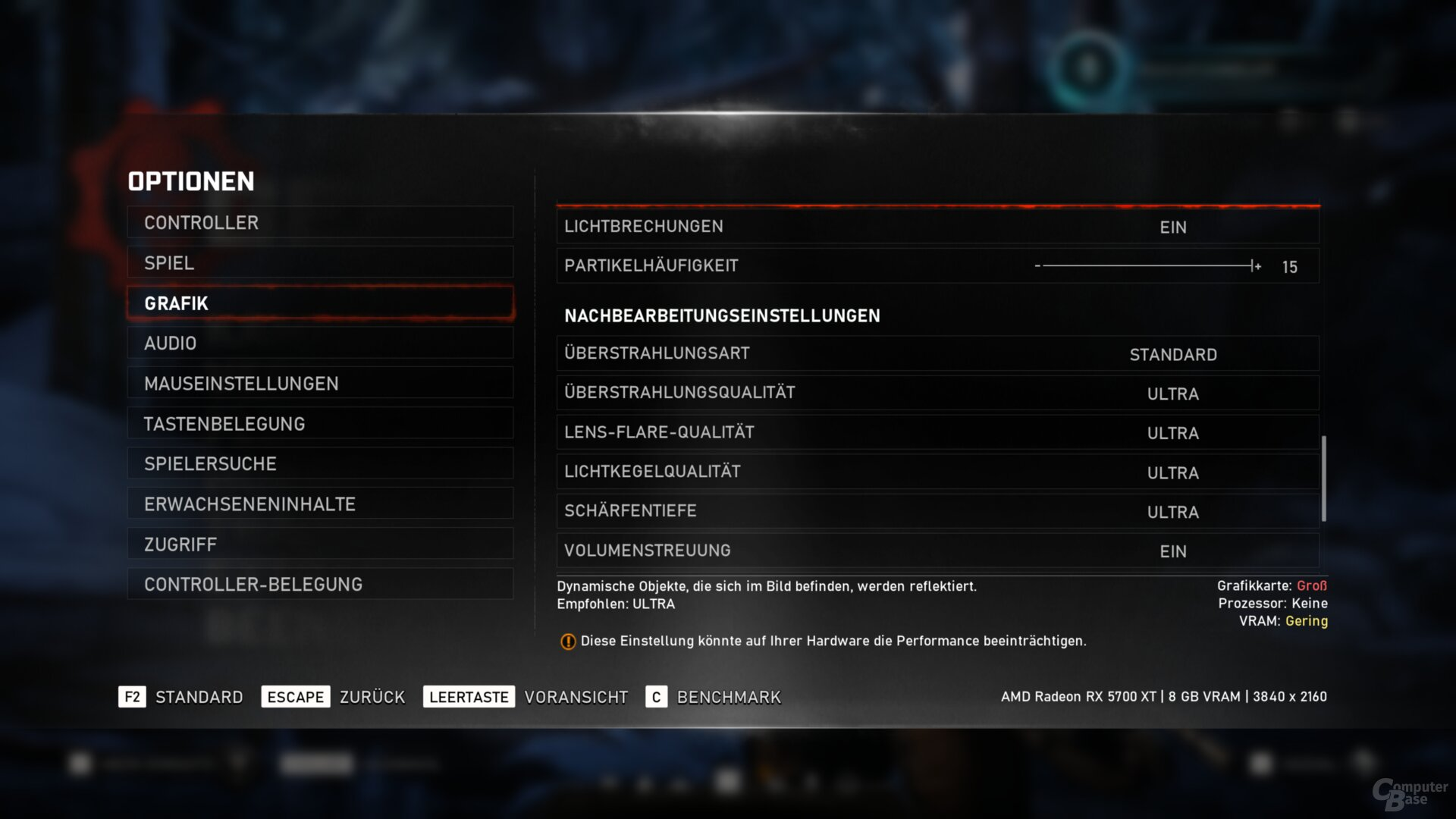 Das Grafikmenü von Gears 5