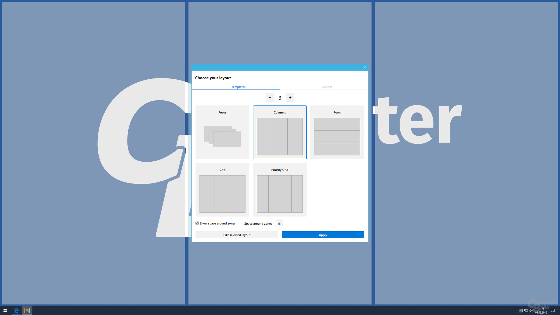 FancyZones bietet fünf Vorlagen für Desktop-Zonen...