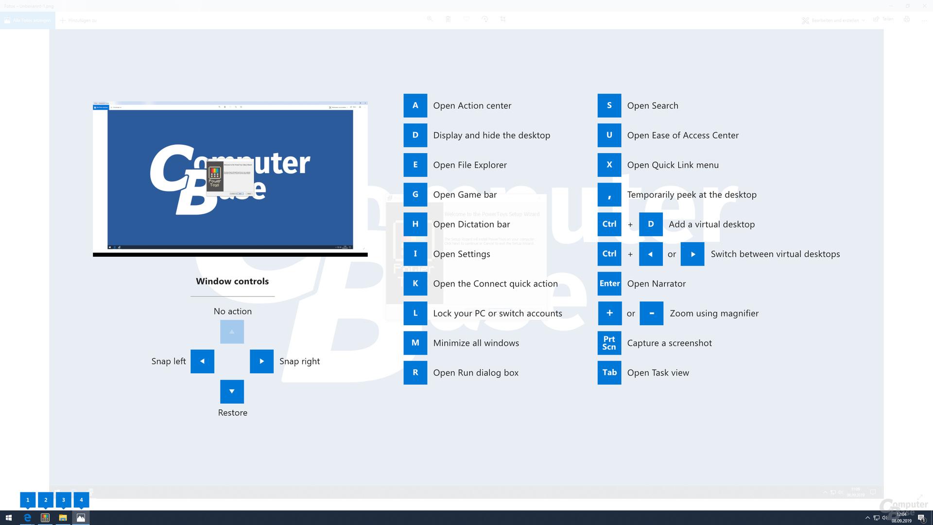 Der Shortcut Guide zeigt alle unter Windows definierten Tastenkürzel per Overlay an