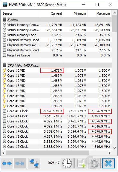 Der Ryzen 7 3800X aus der Redaktion mit einem Singlecore-Boost von 4,575 GHz