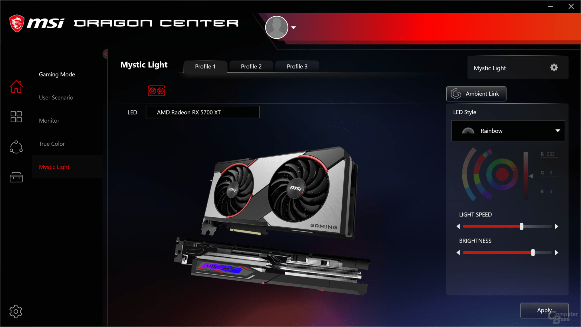 MSI Dragon Center auf der Radeon RX 5700 XT Gaming X