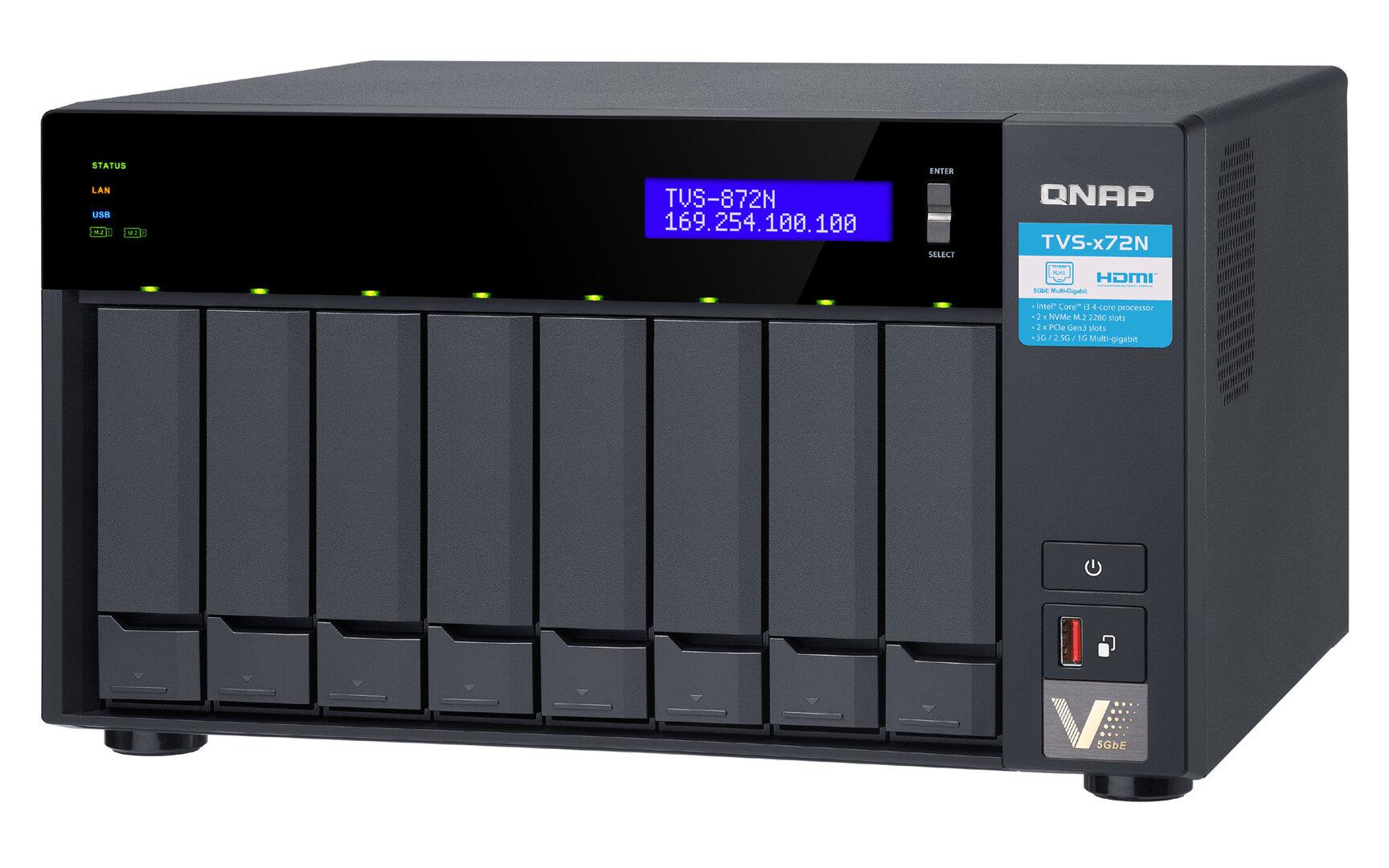 QNAP TVS-x72N: NAS-Serie mit Core i3, 5 Gigabit, M.2, PCIe und USB C