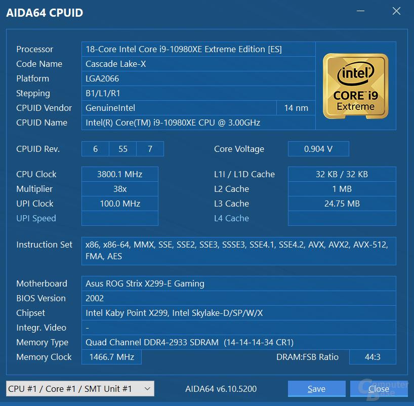 Intel Core i9-10980XE im Turbo für alle Kerne