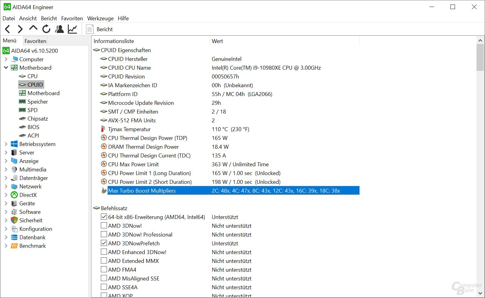 Turbo- und TDP-Einstufungen des Intel Core i9-10980XE