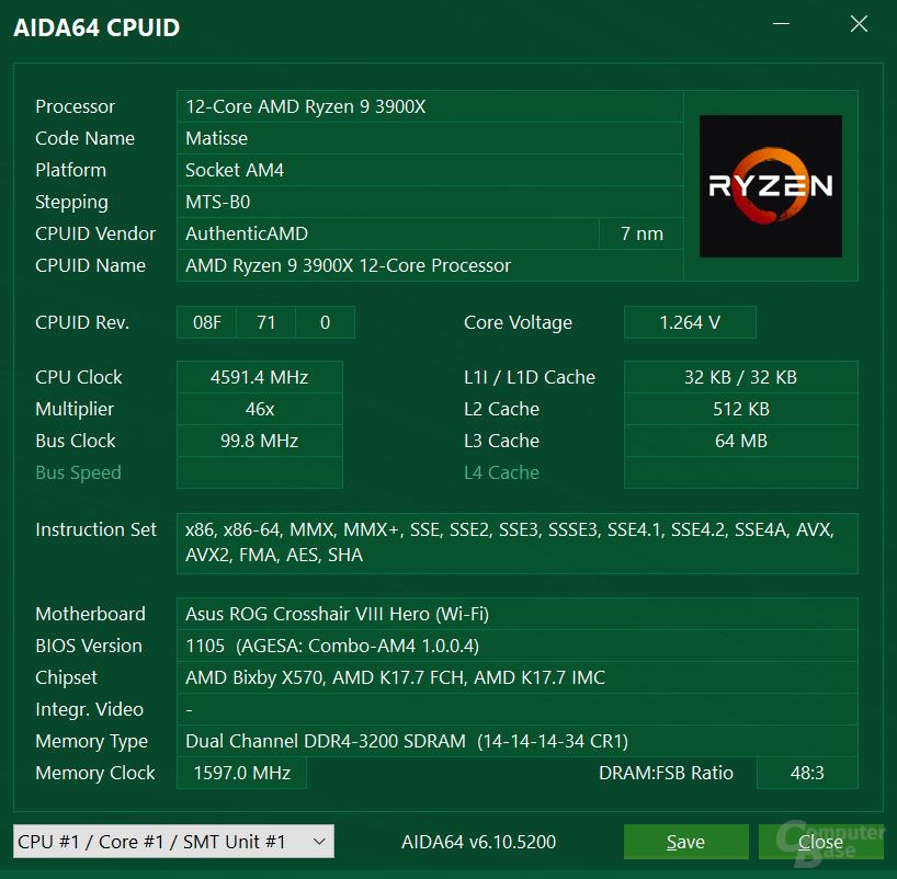 AMD Ryzen 9 3900X auf AM4-Mainboard mit AGESA 1.0.0.4