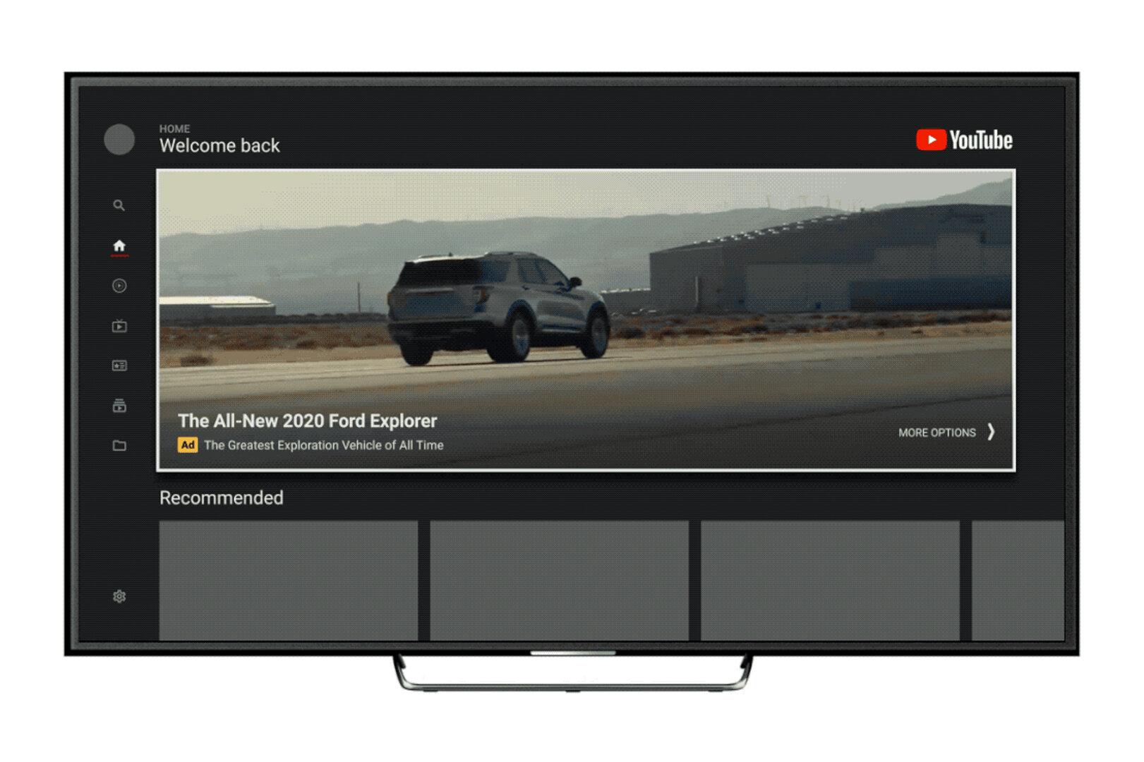 Masthead-Werbebanner für YouTube auf Fernsehern